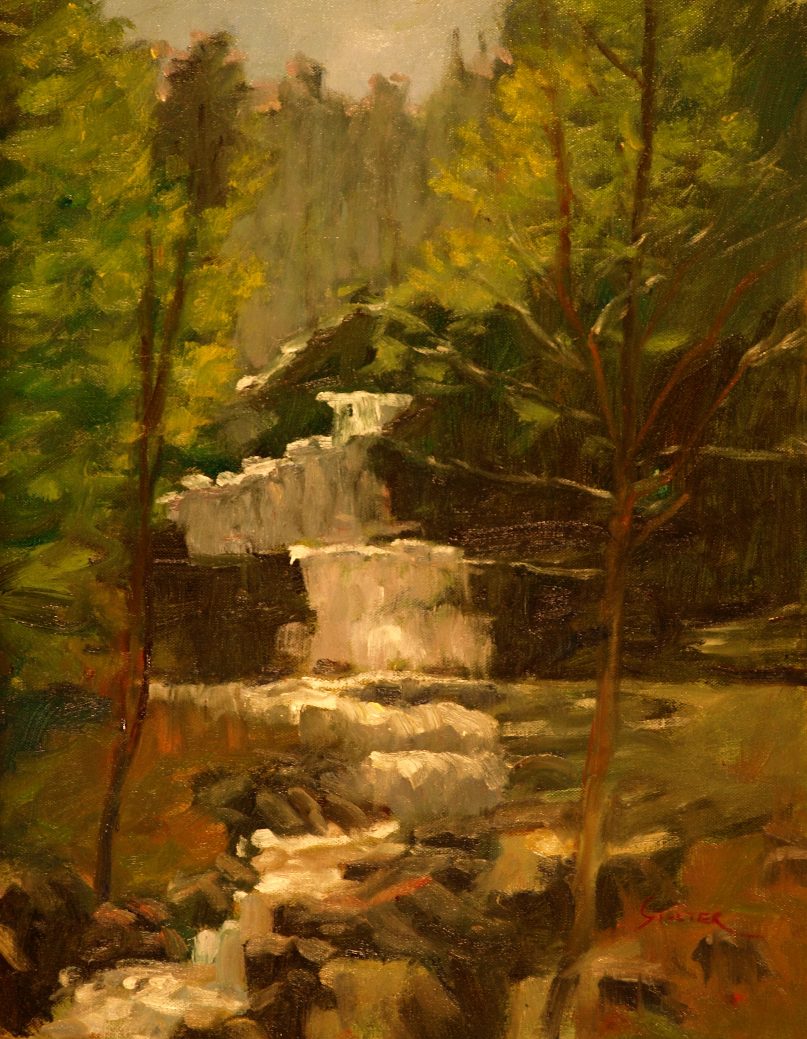 Kent Falls, Oil on Canvas, 20 x 16 Inches, by Richard Stalter, $450