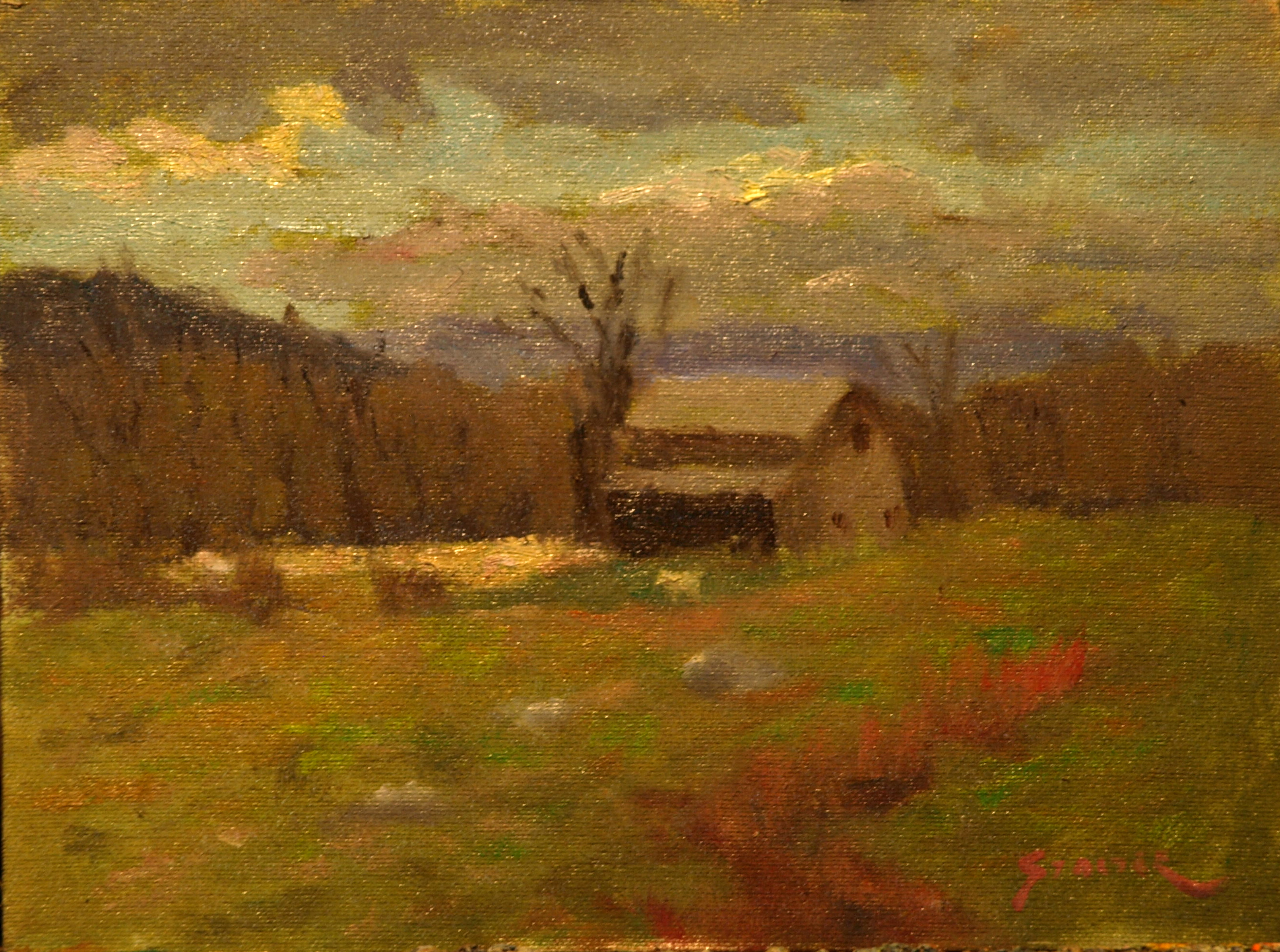 Lindburgh Barn, Oil on Canvas on Panel, 9 x 12 Inches, by Richard Stalter, $225