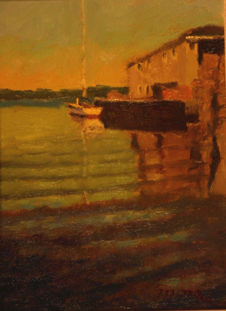 Lone Sailboat, Oil on Canvas on Panel, 12 x 9 Inches, by Richard Stalter, $225