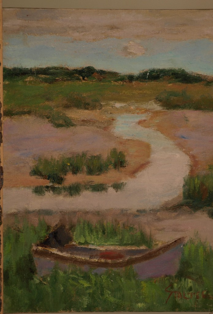 High Tide -- Stonington, Oil on Canvas on Panel, 8 x 14 Inches, by Richard Stalter, $225