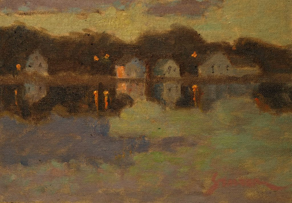 Mystic River Evening, Oil on Canvas on Panel, 9 x 12 Inches, by Richard Stalter, $225