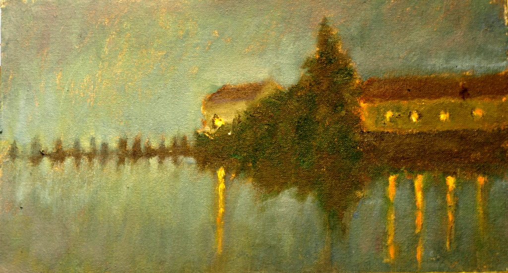 Mystic River Nocturne, Oil on Canvas on Panel, 8 x 14 Inches, by Richard Stalter, $220