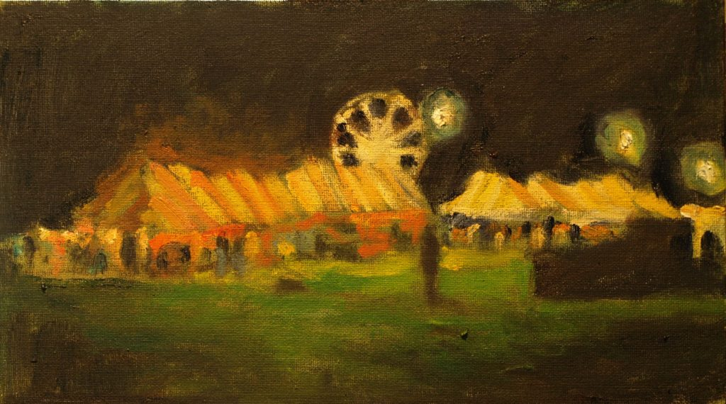 Night, Bridgewater Fair, Oil on Canvas on Panel, 8 x 14 Inches, by Richard Stalter, $225