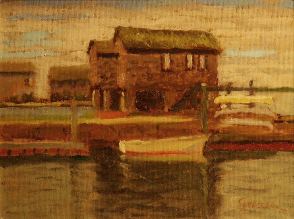 Old Stonington Boathouse, Oil on Canvas on Panel, 9 x 12 Inches, by Richard Stalter, $225