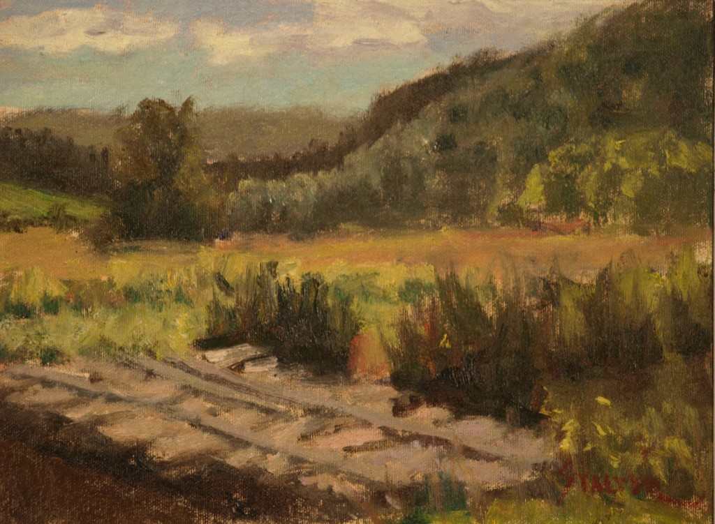 Pasture Bridge, Oil on Canvas on Panel, 9 x 12 Inches, by Richard Stalter, $225