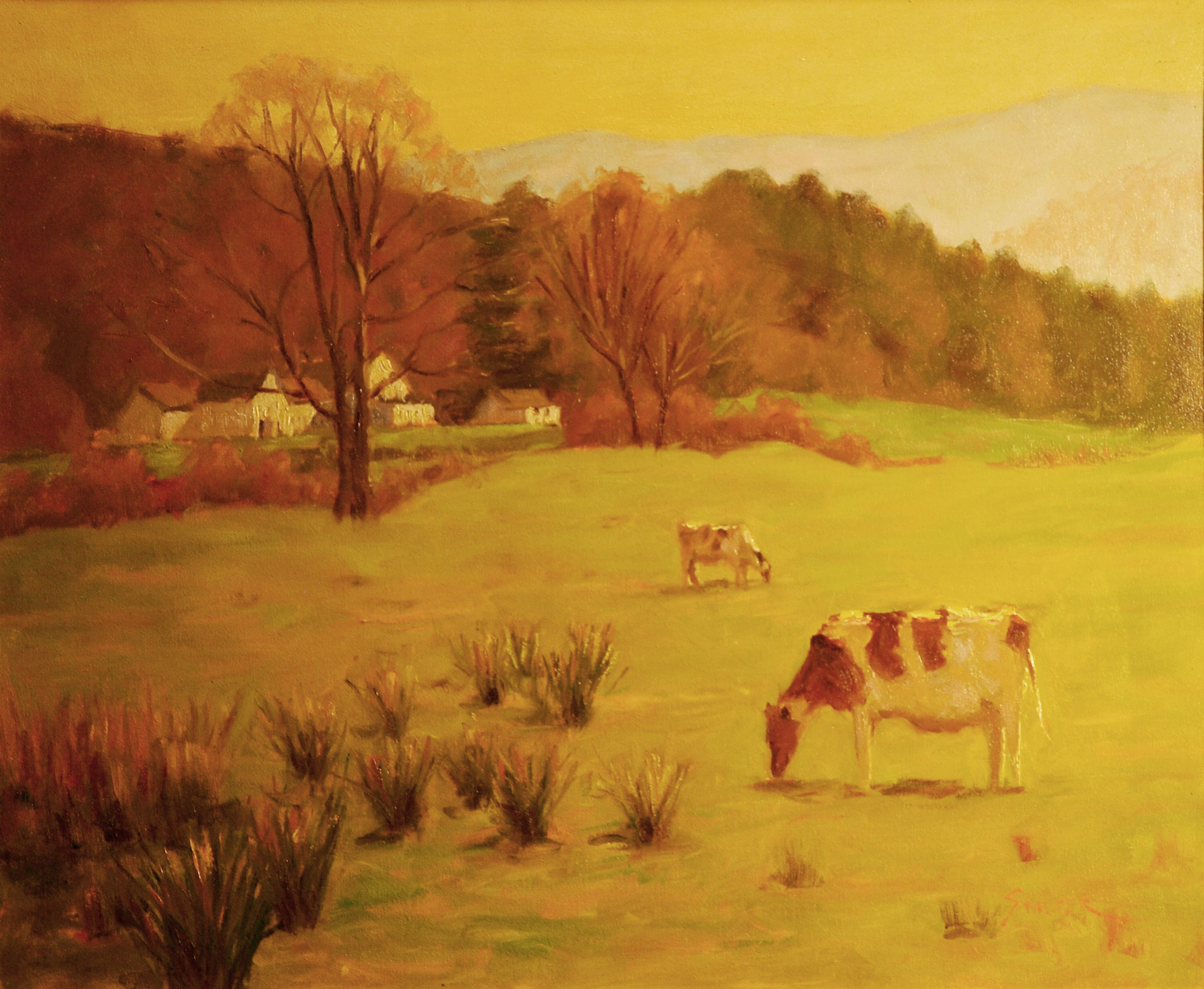 Pasture Near Kent, Oil on Canvas, 20 x 24 Inches, by Richard Stalter, $850