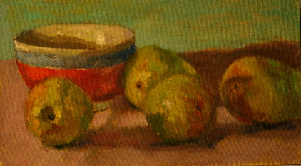 Pears and Chinese Bowl, Oil on Canvas on Panel, 8 x 14 Inches, by Richard Stalter, $225