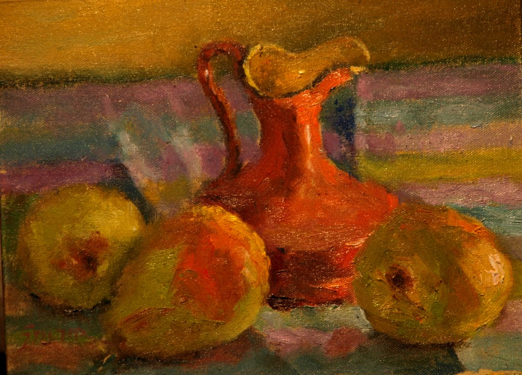Pears and Creamer, Oil on Canvas on Panel, 9 x 12 Inches, by Richard Stalter, $225