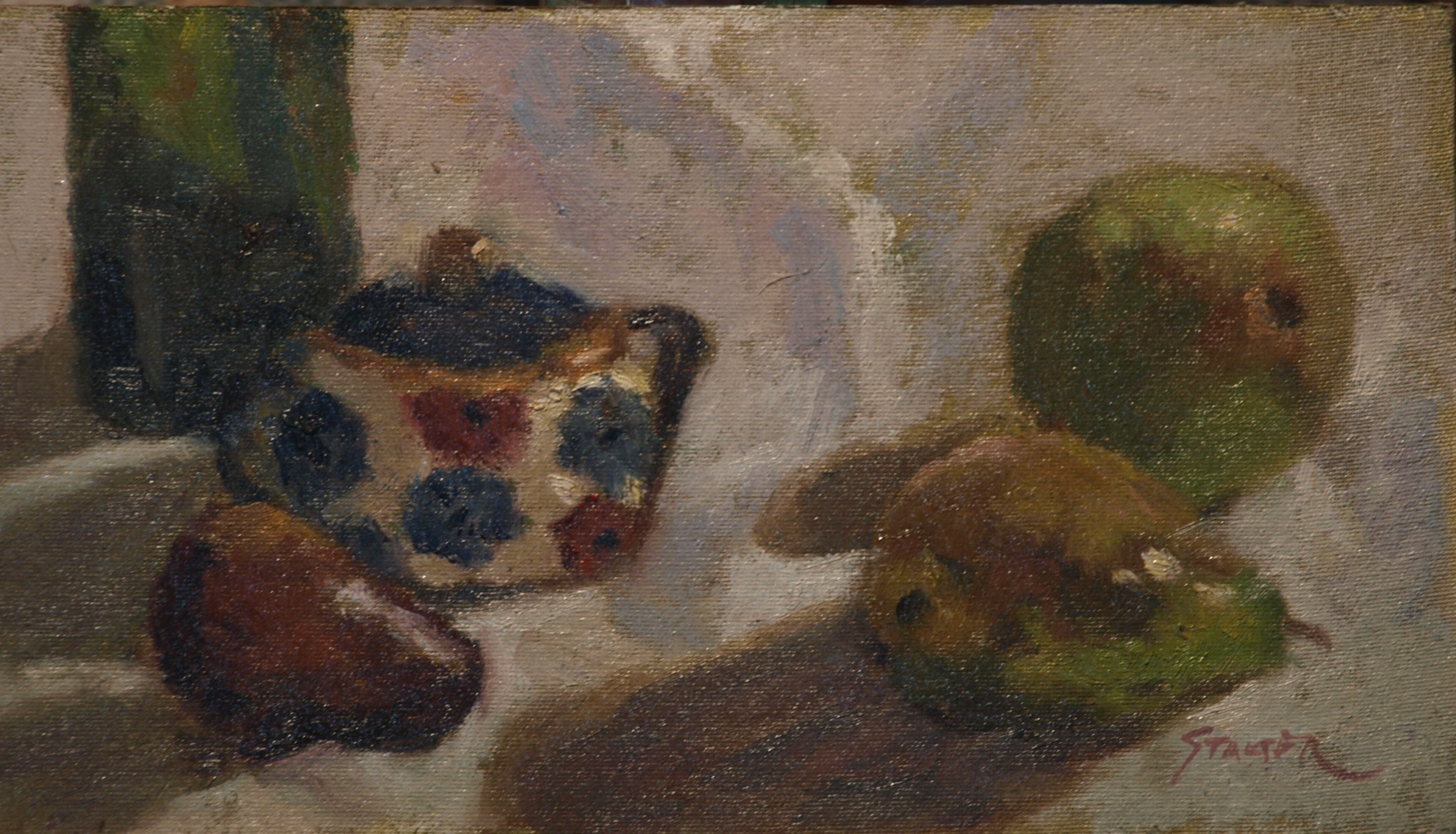 Pears and Sugar Bowl, Oil on Canvas on Panel, 8 x 14 Inches, by Richard Stalter, $225