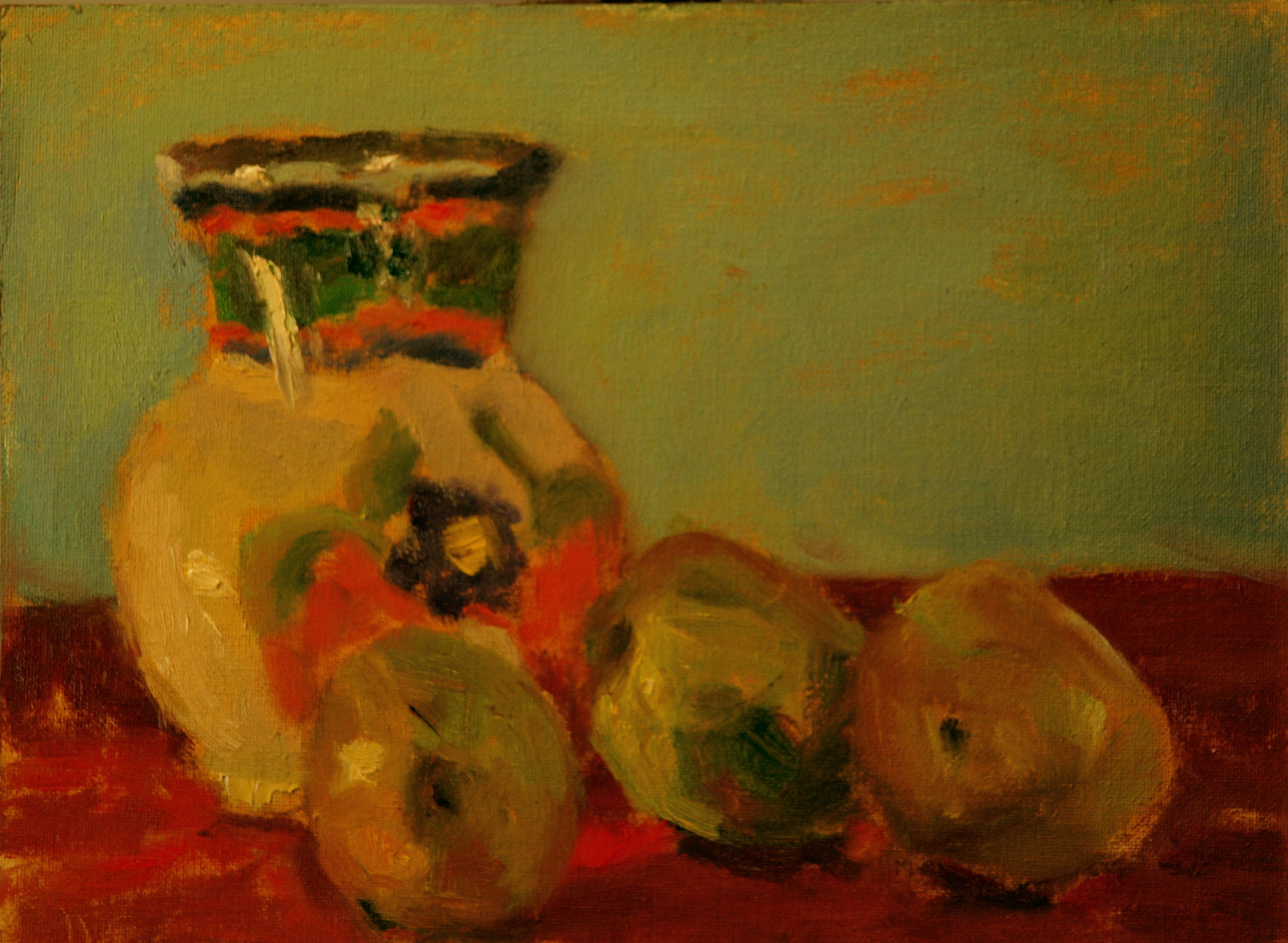 Pears and Water Pitcher, Oil on Canvas on Panel, 9 x 12 Inches, by Richard Stalter, $225