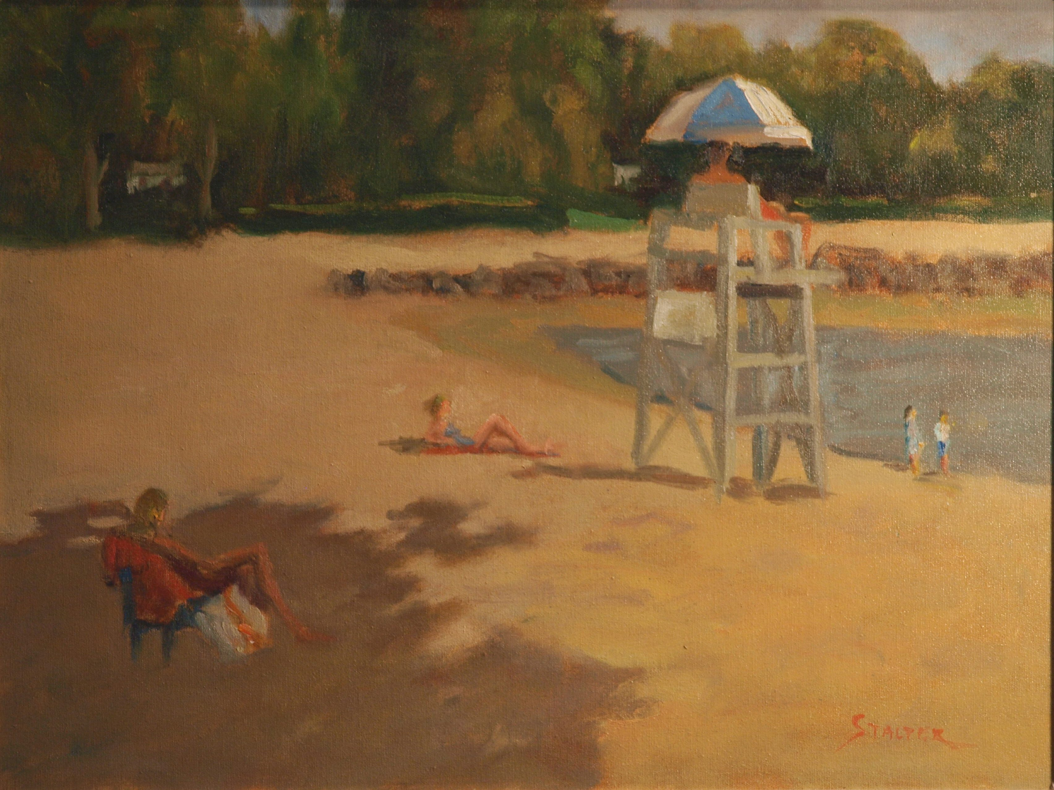 Pear Tree Beach Lifeguard, Oil on Canvas, 18 x 24 Inches, by Richard Stalter, $650
