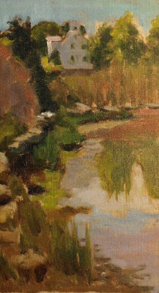 Pondside, 14 x 8 Inches, Oil on Canvas on Panel, by Richard Stalter, $225