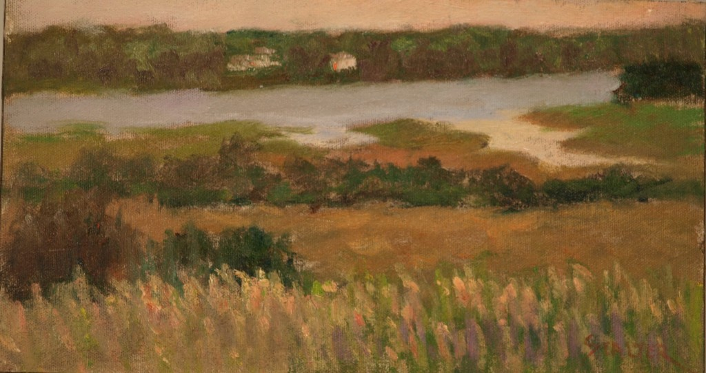 River from Fort Hill, Oil on Canvas on Panel, 8 x 14 Inches, by Richard Stalter, $225
