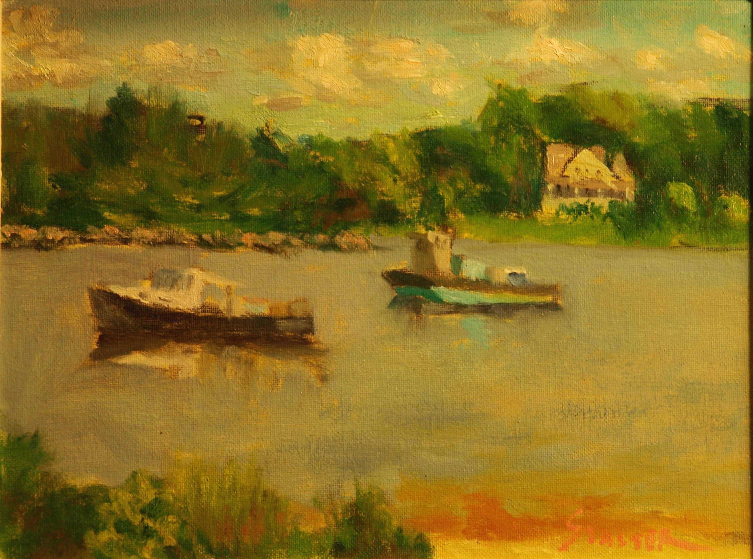 Rowayton Boats, Oil on Canvas on Panel, 9 x 12 Inches, by Richard Stalter, $225