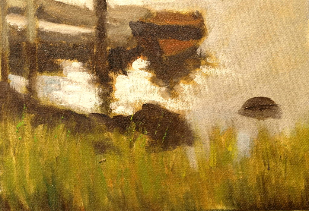 Rowboat Reflections, Oil on Canvas on Panel, 9 x 12 Inches, by Richard Stalter, $220