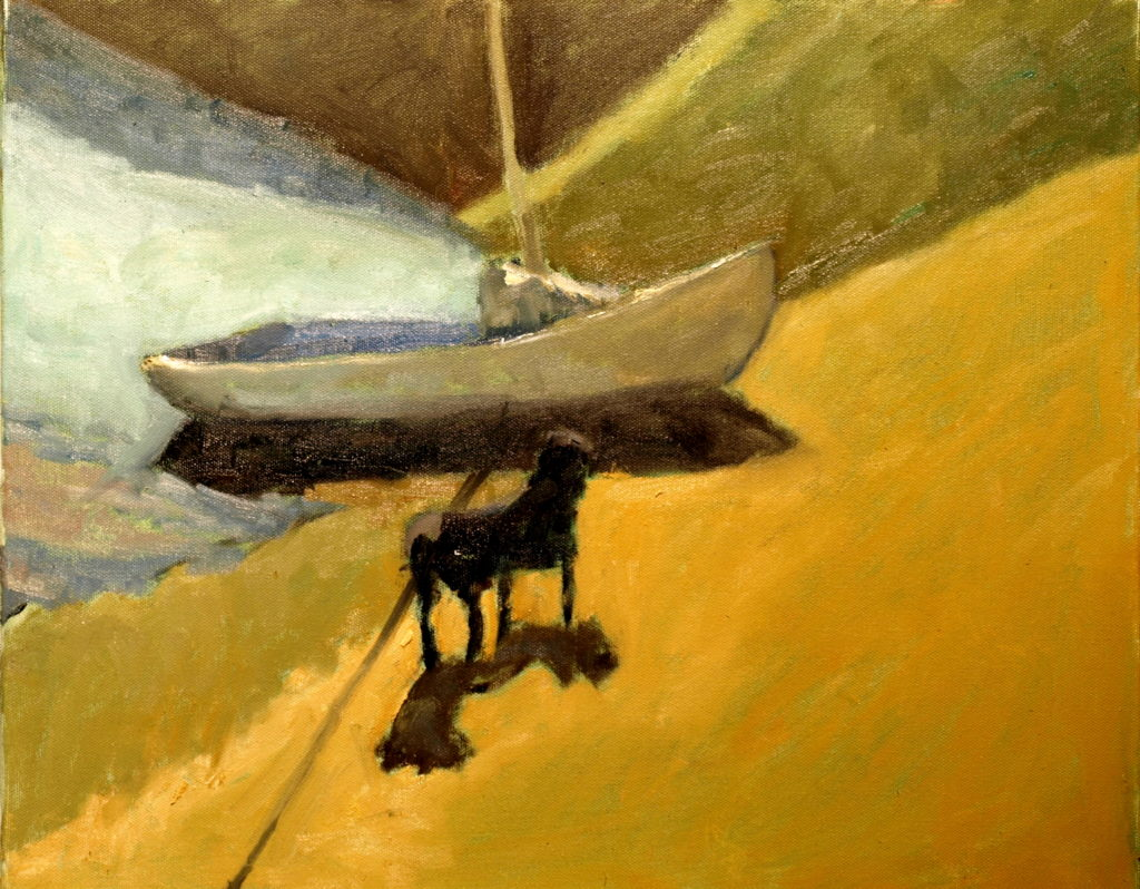 Sailboat and Dog, Oil on Canvas, 16 x 20 Inches, by Richard Stalter, $450