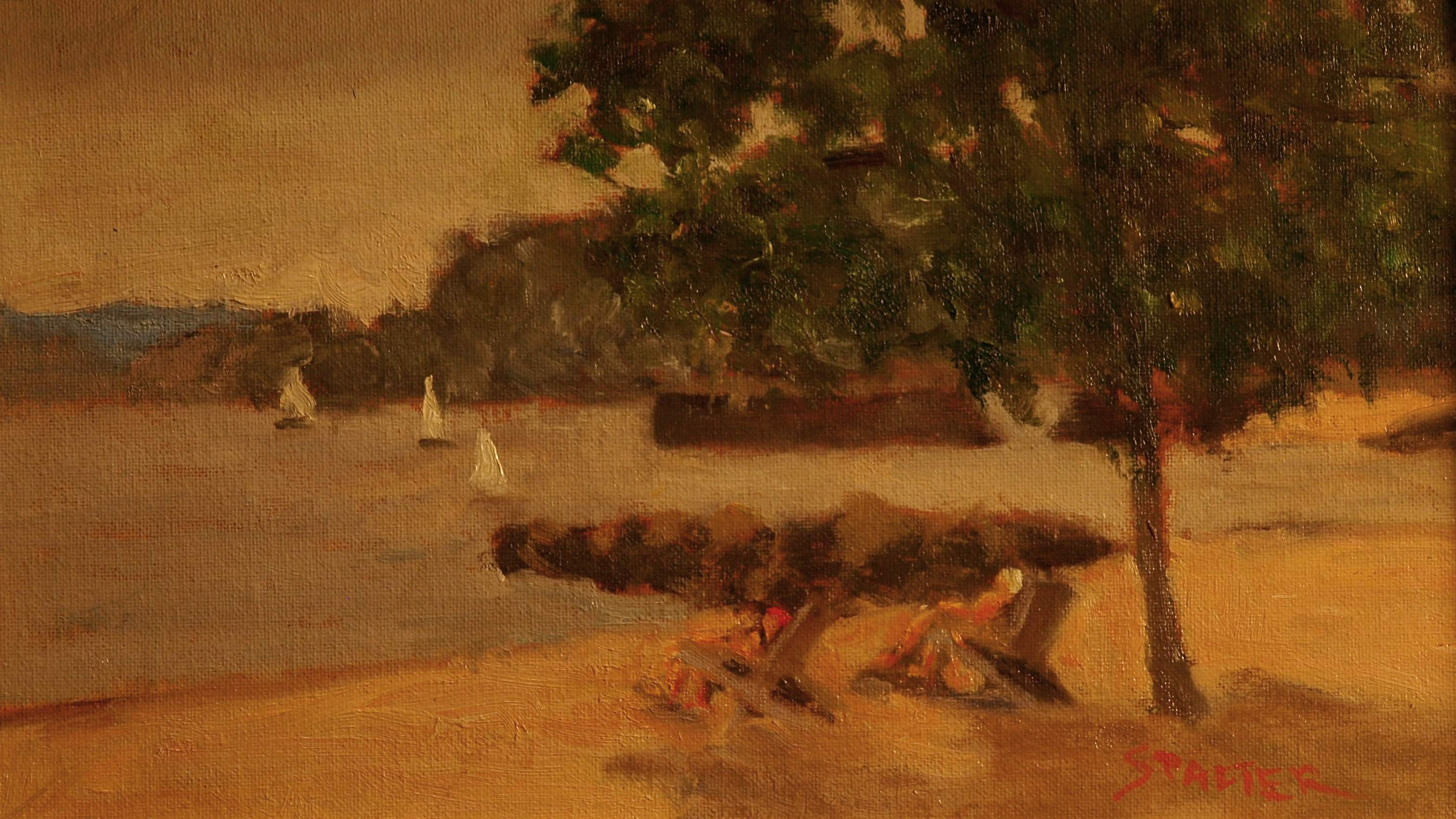 Sailboats Near Pear Tree Point, Oil on Canvas on Panel, 8 x 14 Inches, by Richard Stalter, $225