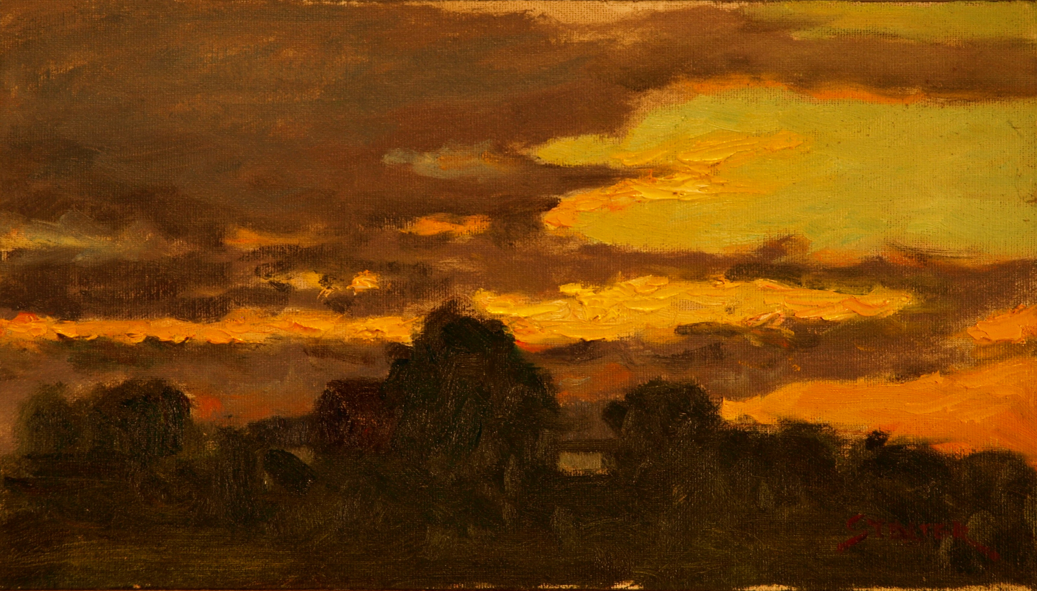 Spectacular Sunset, Oil on Canvas on Panel, 8 x 14 Inches, by Richard Stalter, $225