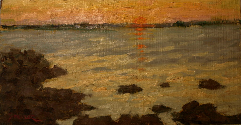 Stonington Sunset, Oil on Canvas on Panel, 8 x 14 Inches, by Richard Stalter, $220