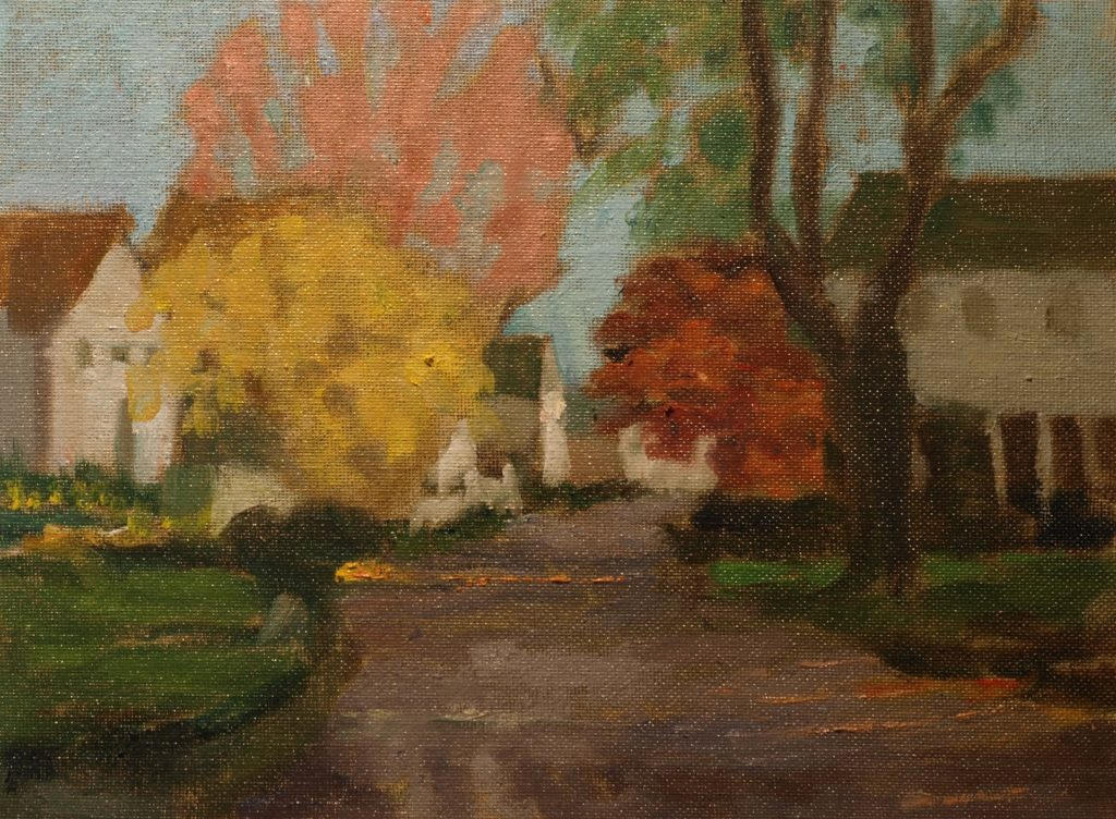 Street in Noank, Oil on Canvas on Panel, 9 x 12 Inches, by Richard Stalter, $225