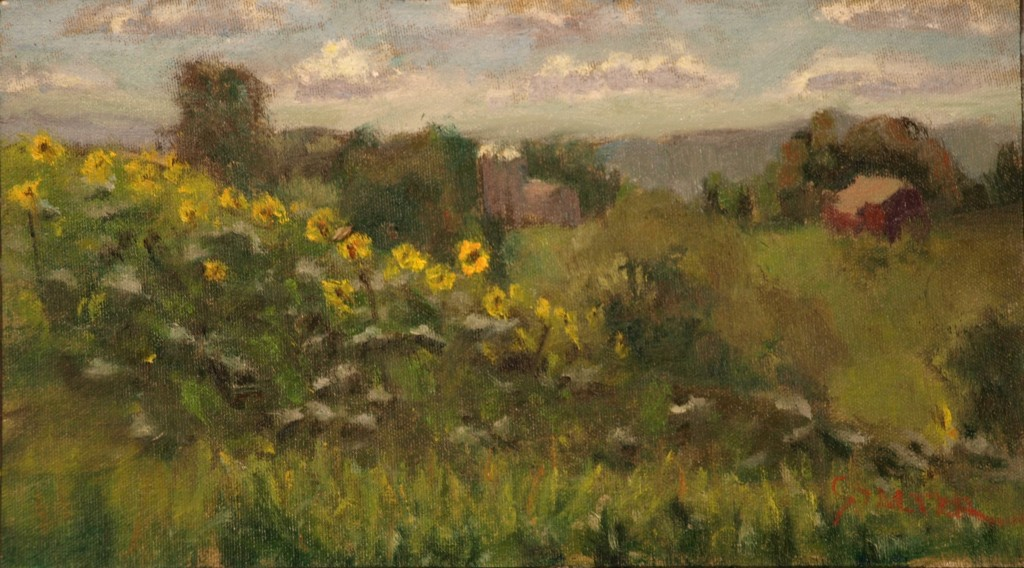 Sunflower Field, Oil on Canvas on Panel, 8 x 14 Inches, by Richard Stalter, $225