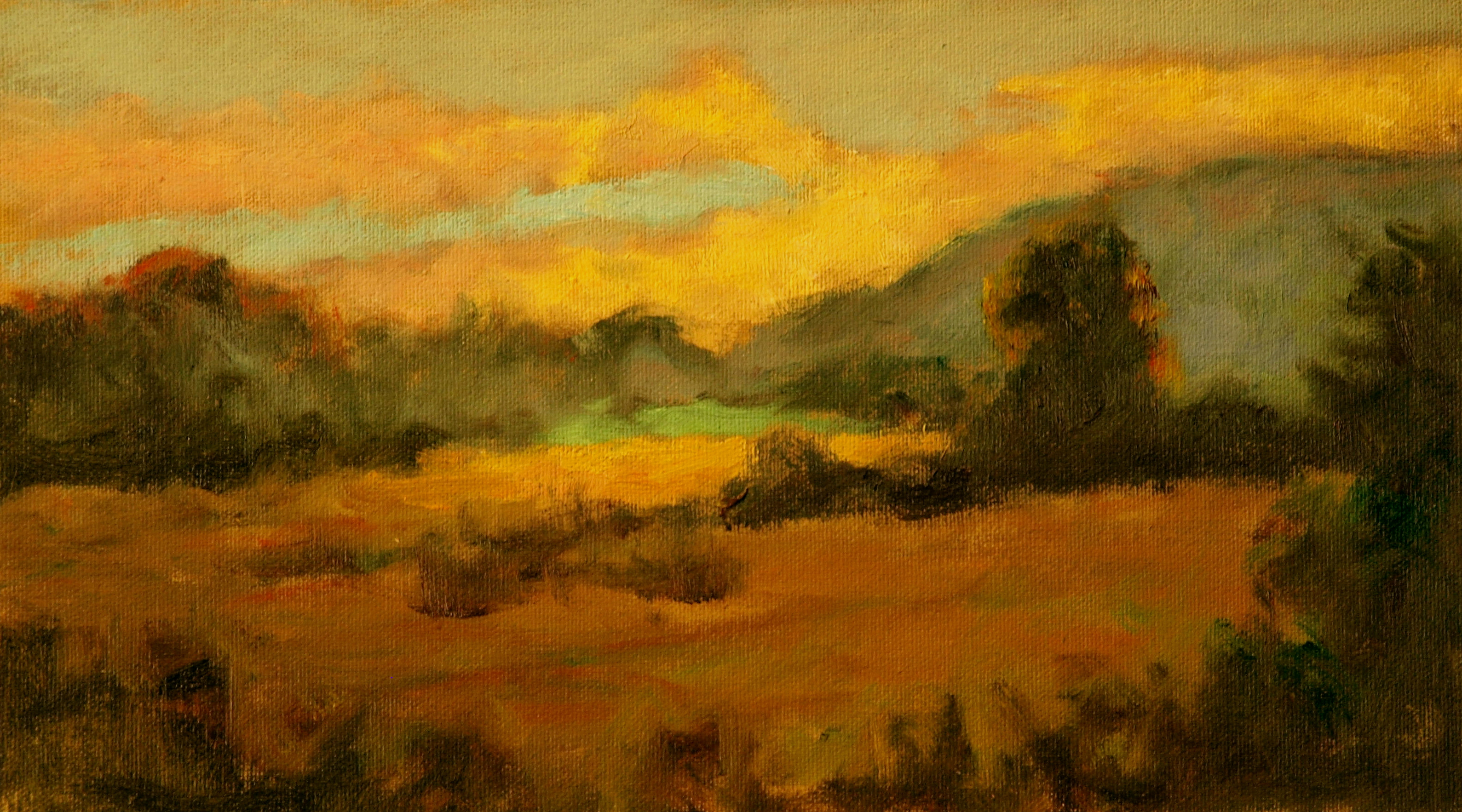 Sunset Across the Meadow, Oil on Canvas on Panel, 8 x 14 Inches, by Richard Stalter, $225