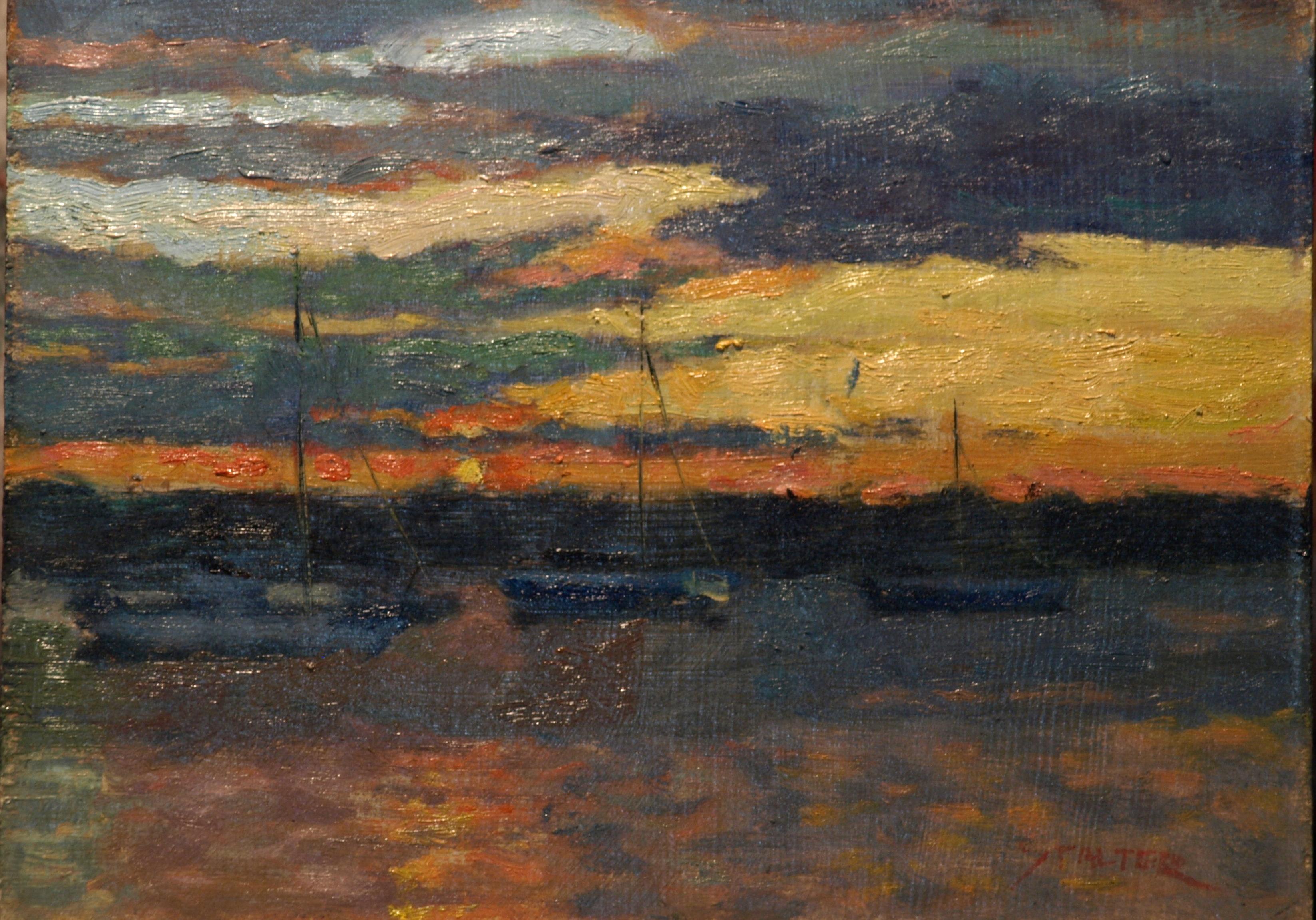 Sunset -- Stonington Harbor, Oil on Canvas on Panel, 9 x 12 Inches, by Richard Stalter, $225