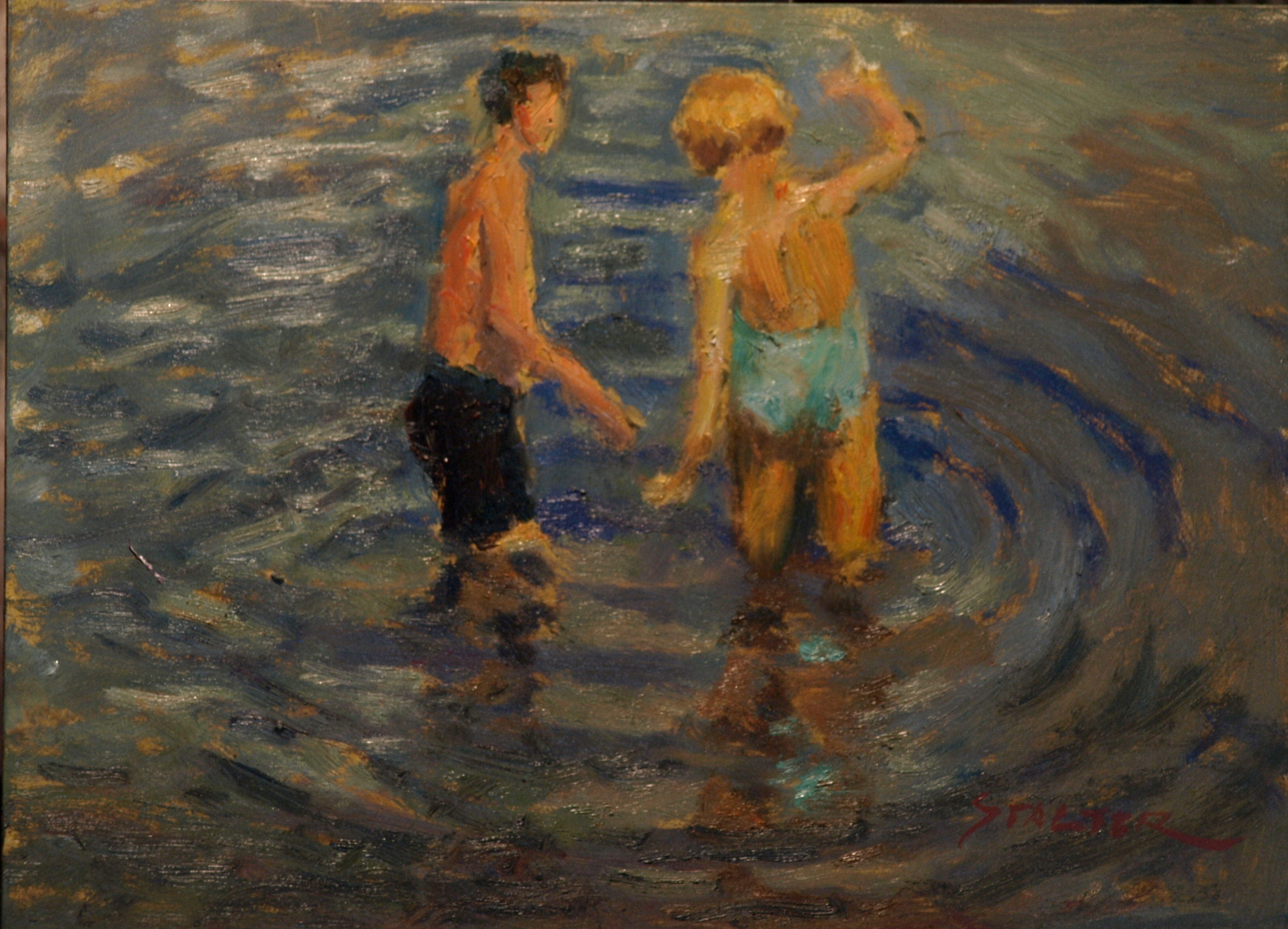 Swimmers, Oil on Canvas on Panel, 9 x 12 Inches, by Richard Stalter, $225