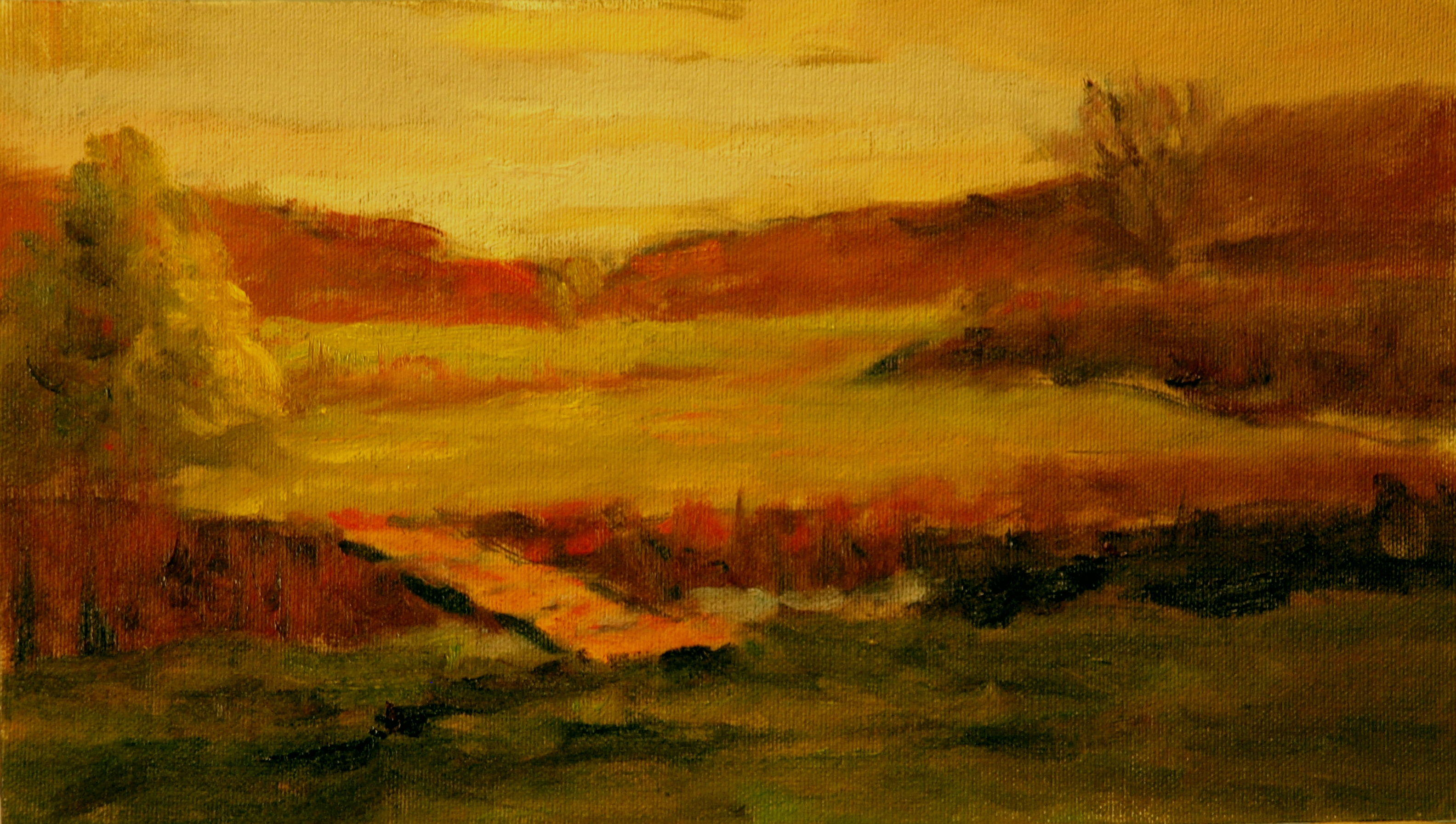 The Footbridge, Oil on Canvas on Panel, 8 x 14 Inches, by Richard Stalter, $225