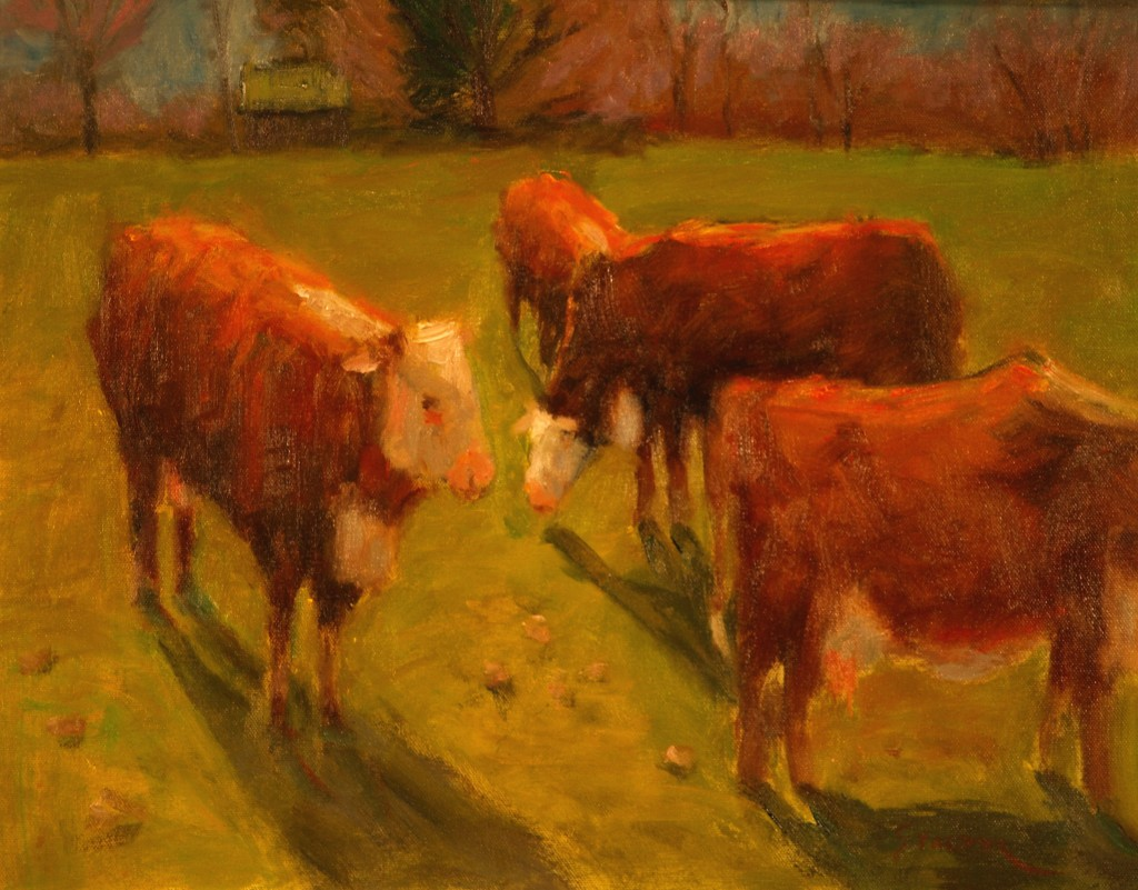 Three Cows and Calf, Oil on Canvas, 16 x 20 Inches, by Richard Stalter, $450