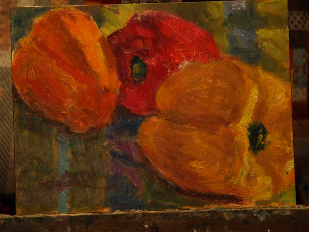 Three Peppers, Oil on Canvas on Panel, 9 x 12 Inches, by Richard Stalter, $225