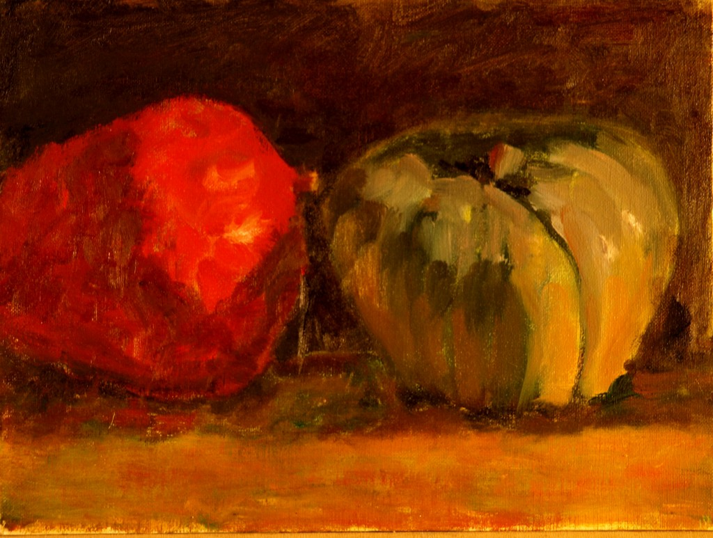 Two Large Squash, Oil on Canvas on Panel, 9 x 12 Inches, by Richard Stalter, $225