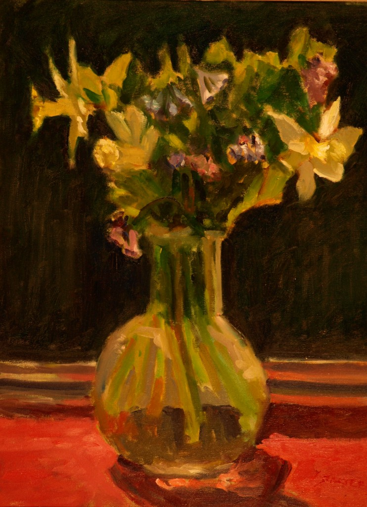 Virginia Blue Bells, Oil on Canvas, 20 x 16 Inches, by Richard Stalter, $450