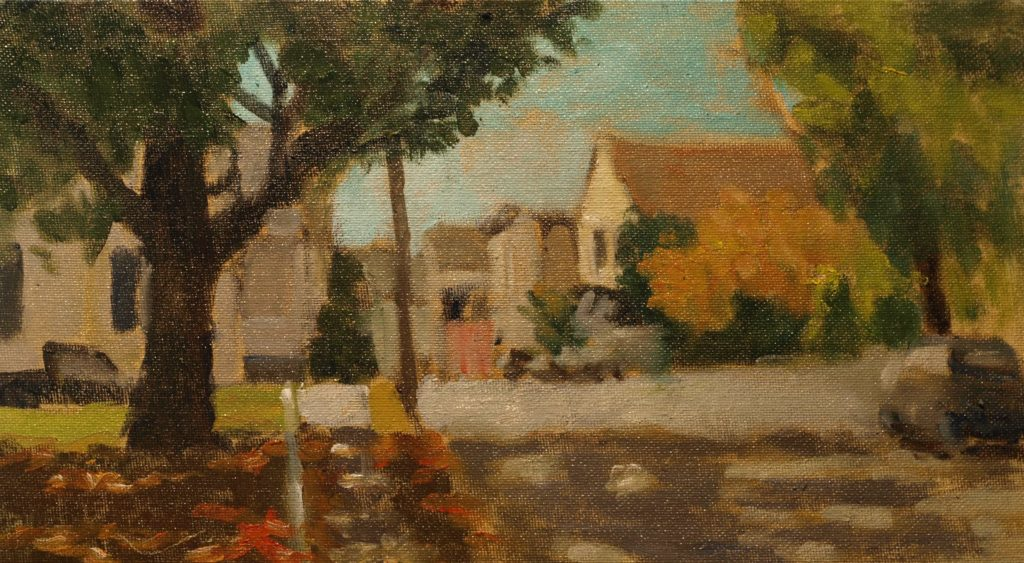 Water Street, Stonington, Oil on Canvas on Panel, 8 x 14 Inches, by Richard Stalter, $225