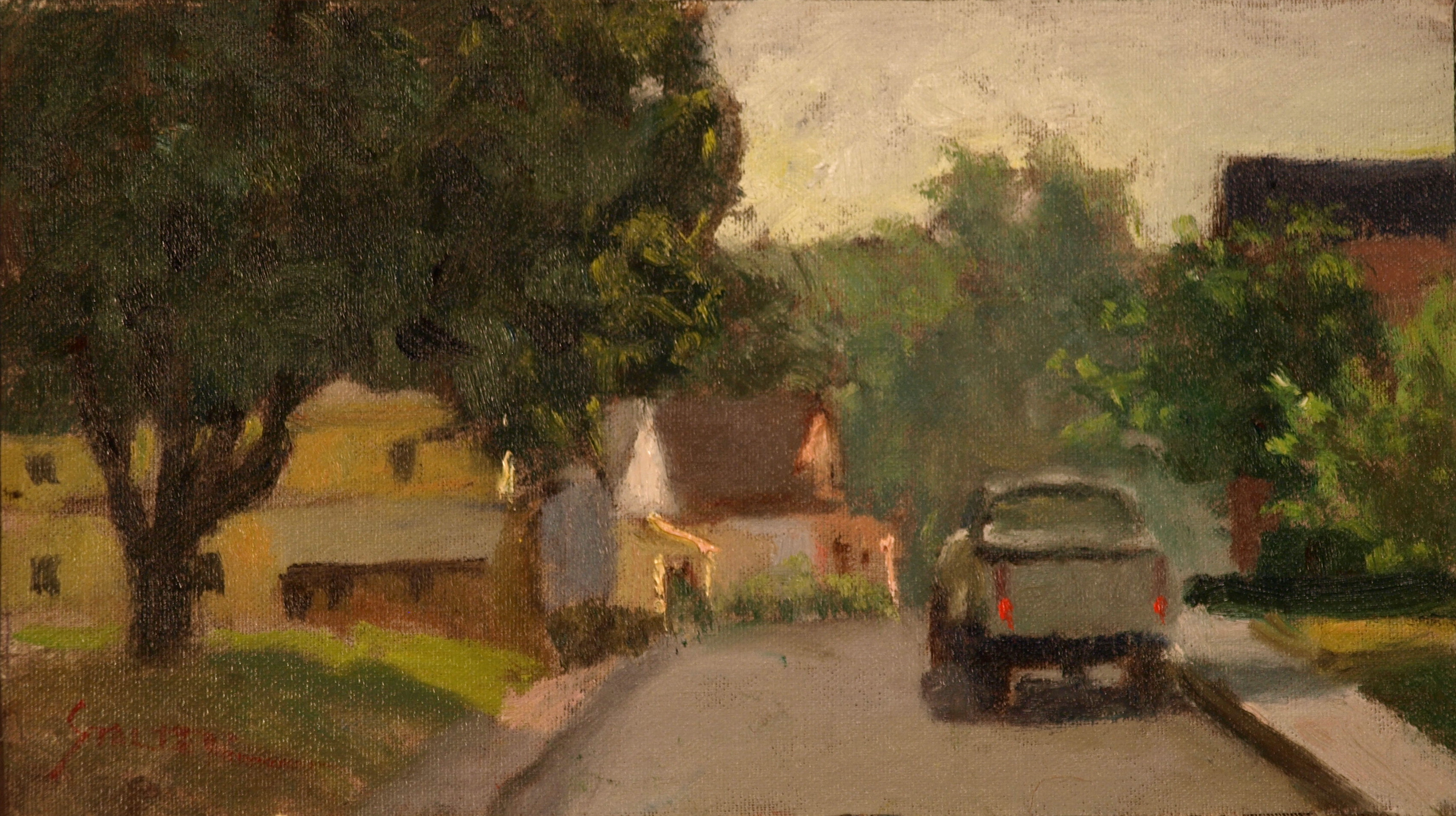 Whittlesee Avenue, Oil on Canvas on Panel, 8 x 14 Inches, by Richard Stalter
