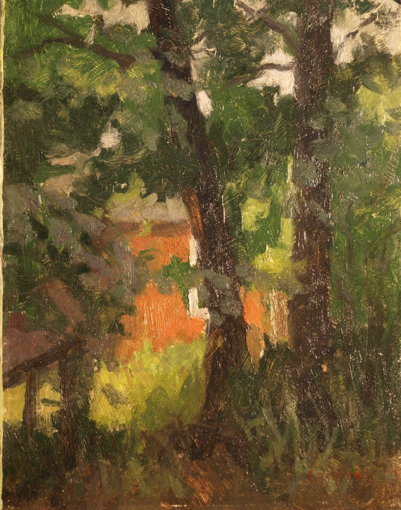 Woodland Farm, Oil on Panel, 12 x 9 Inches, by Richard Stalter, $225