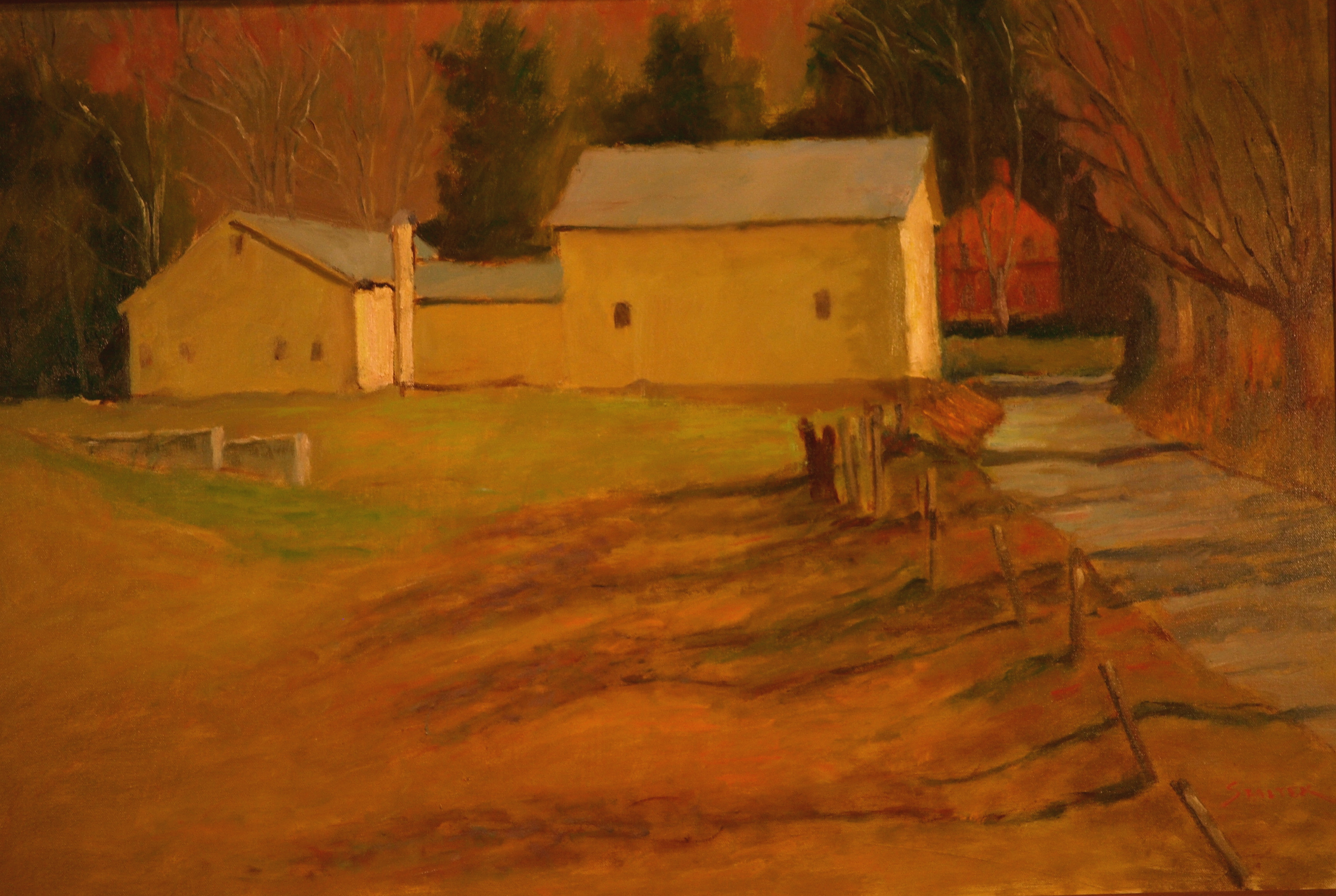 Yellow Barns - Spring, Oil on Canvas, 24 x 36 Inches, by Richard Stalter, $1200