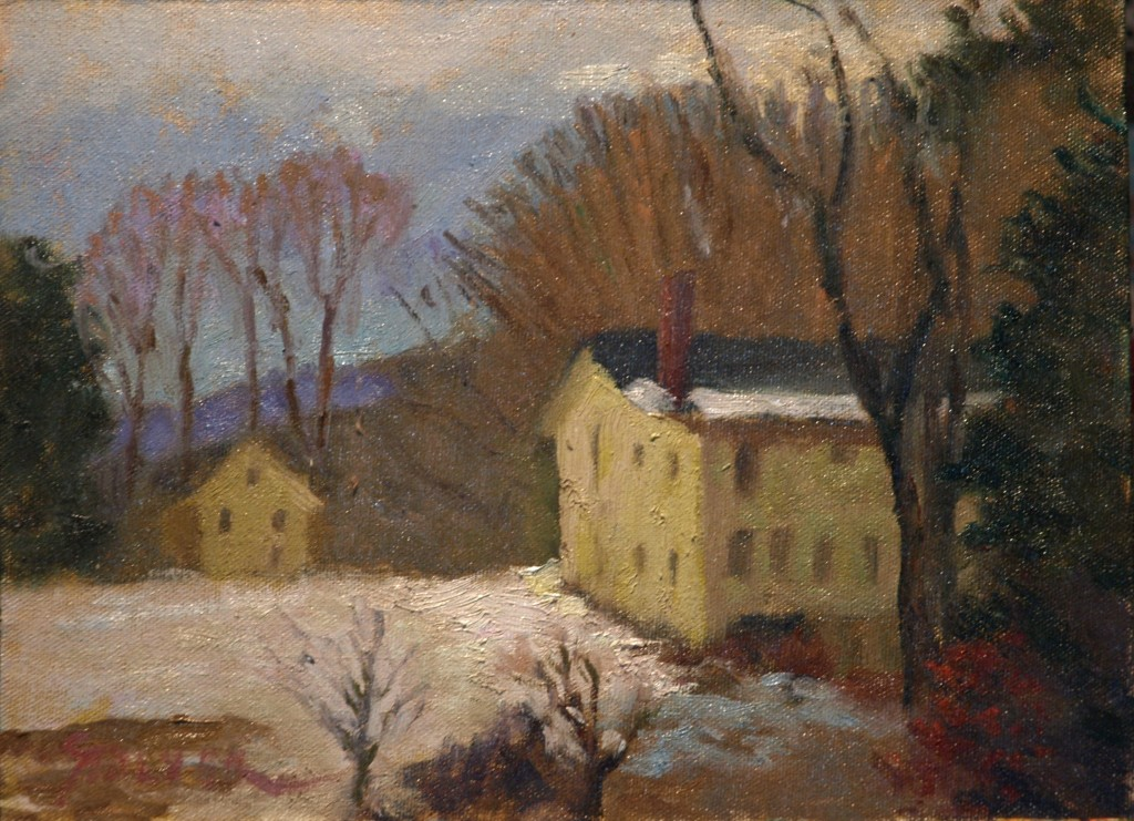 Yellow Buildings in Snow, Oil on Canvas on Panel, 9 x 12 Inches, by Richard Stalter, $225