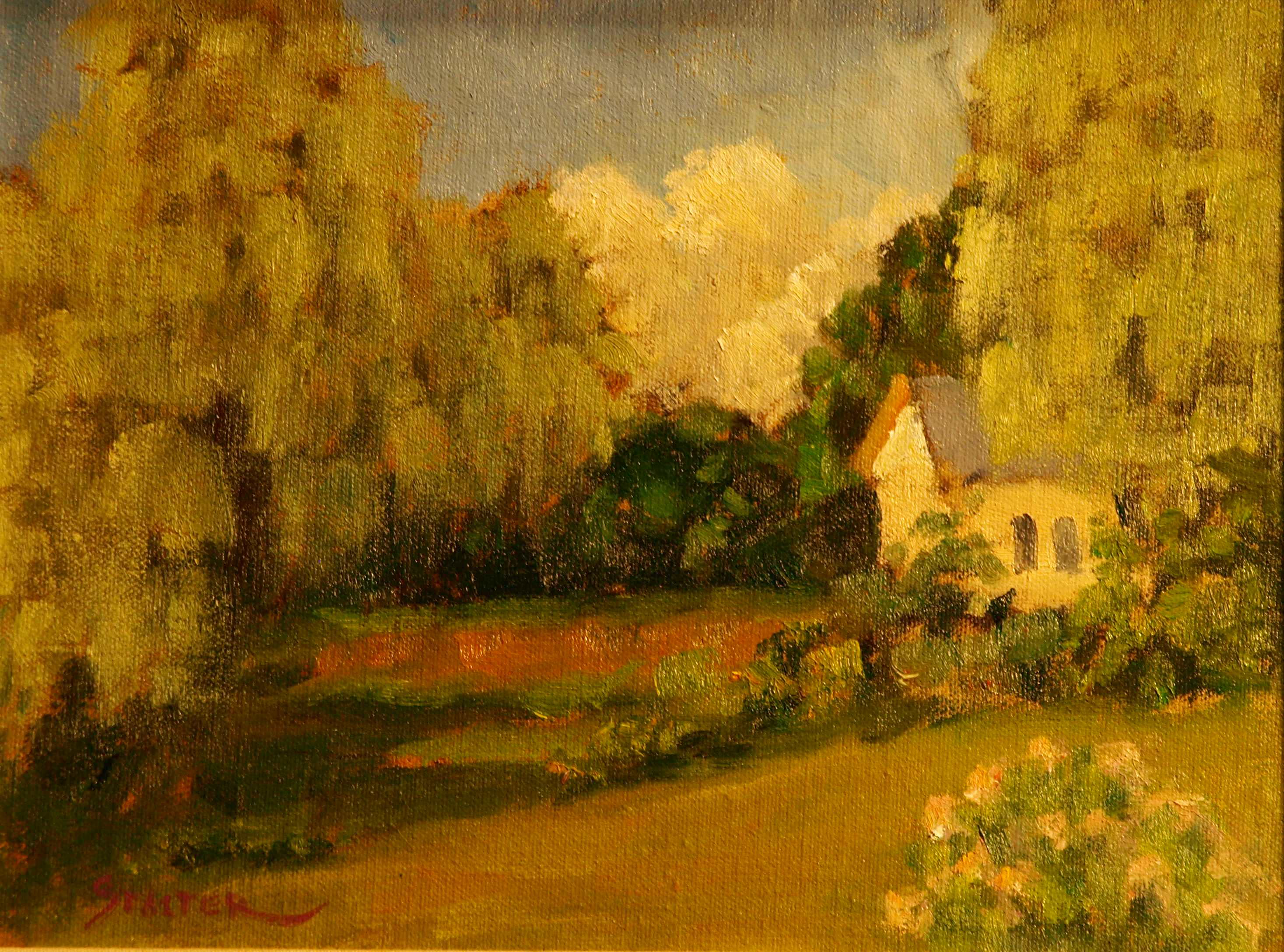 Yellow House Amid Willows, Oil on Canvas on Panel, 9 x 12 Inches, by Richard Stalter, $225