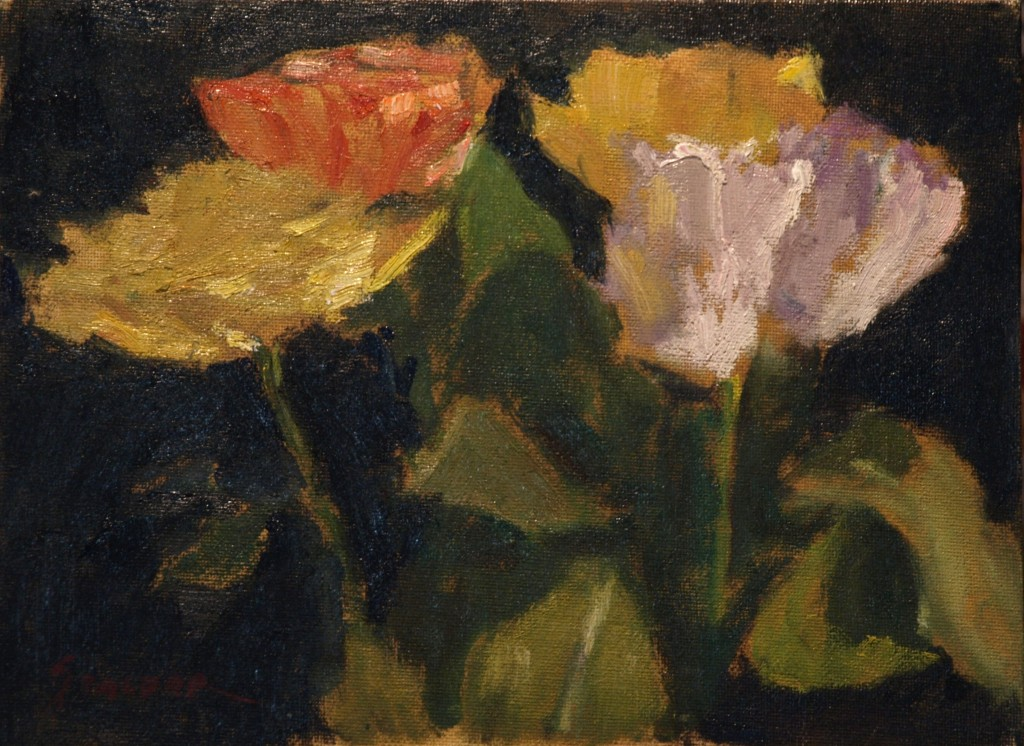 Yellow White and Pink, Oil on Canvas on Panel, 9 x 12 Inches, by Richard Stalter, $225