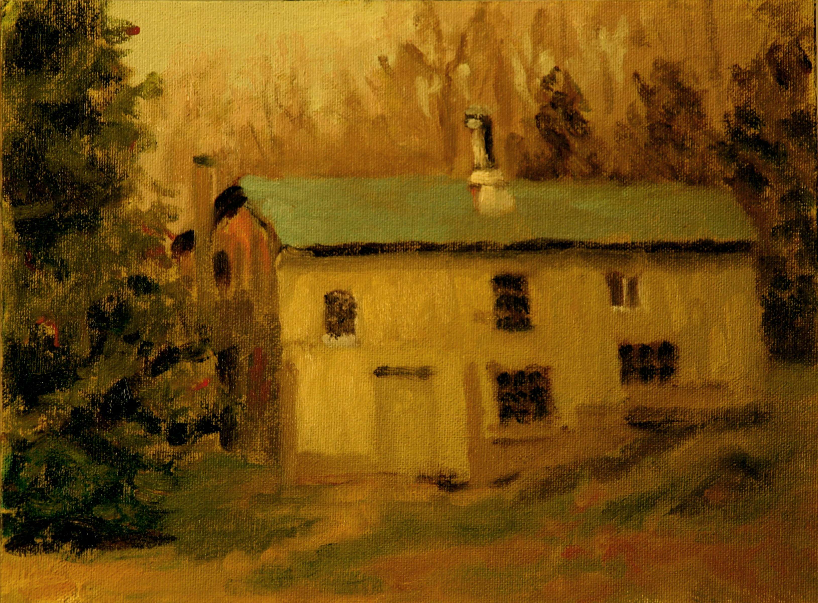Chicken House - Early Spring, Oil on Canvas on Panel, 9 x 12 Inches, by Richard Stalter, $225