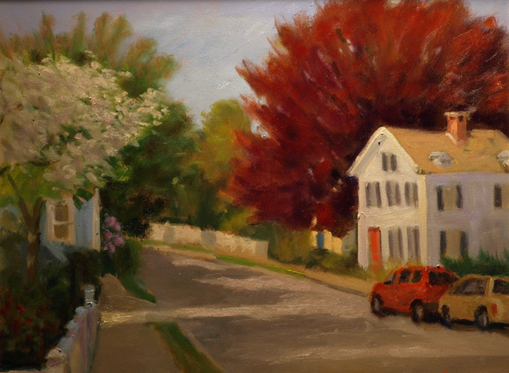 Red Maple - South Main Street, Oil on Canvas, 16 x 20 Inches, by Richard Stalter, $475