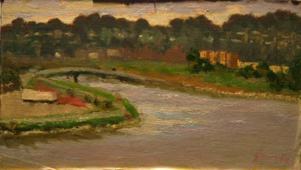 River in Santa Cruz, Oil on Panel, 8 x 14 Inches, by Richard Stalter, $225