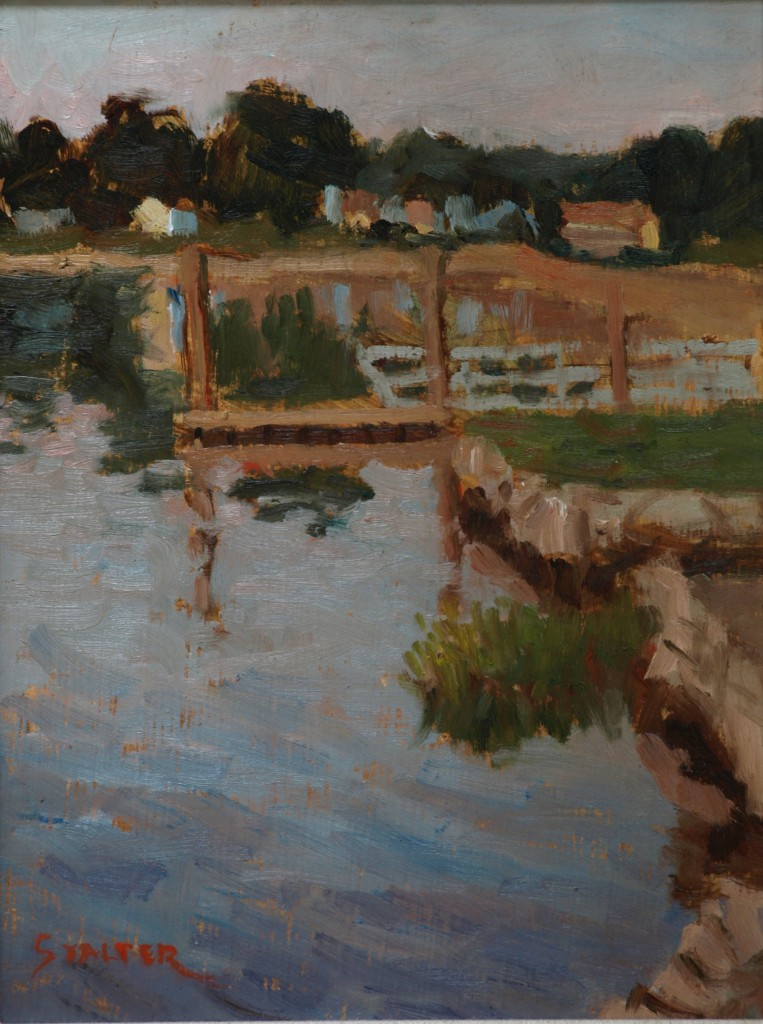 Shoreline View, Oil on Panel, 12 x 9 Inches, by Richard Stalter, $225