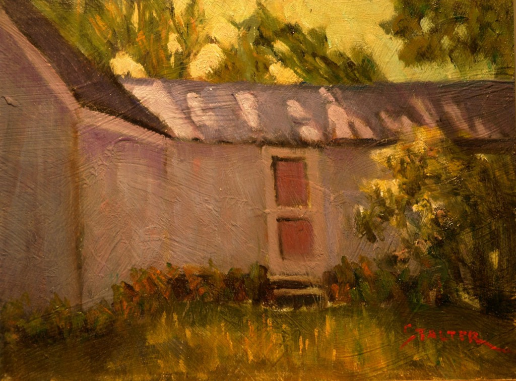 Side Door, Artist's House, Oil on Panel, 9 x 12 Inches, by Richard Stalter, $225