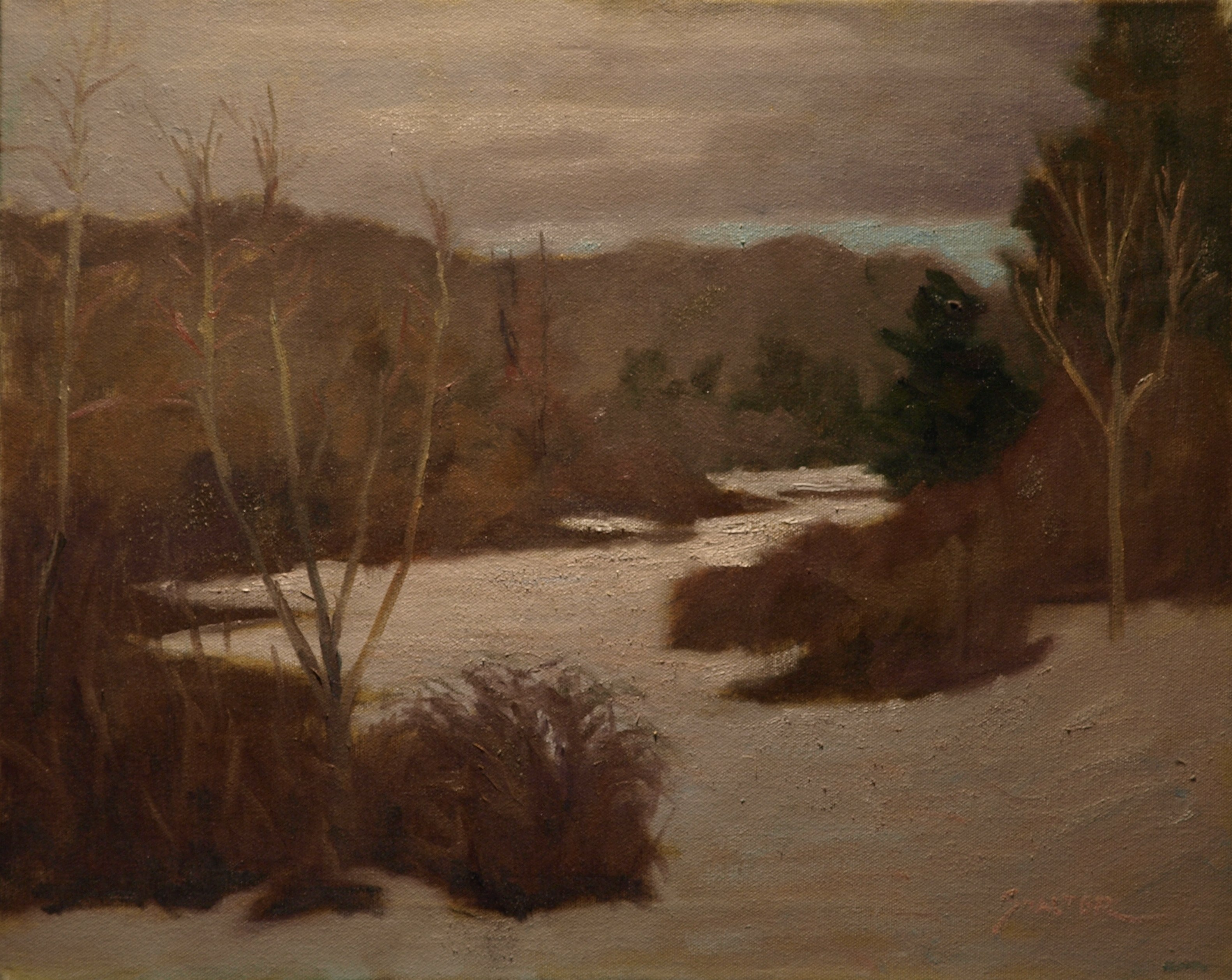 Snow Covered Pastures, Oil on Canvas, 16 x 20 Inches, by Richard Stalter, $425