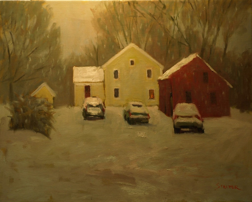 Snowfall at Hattie's, Oil on Canvas, 24 x 30 Inches, by Richard Stalter, $675