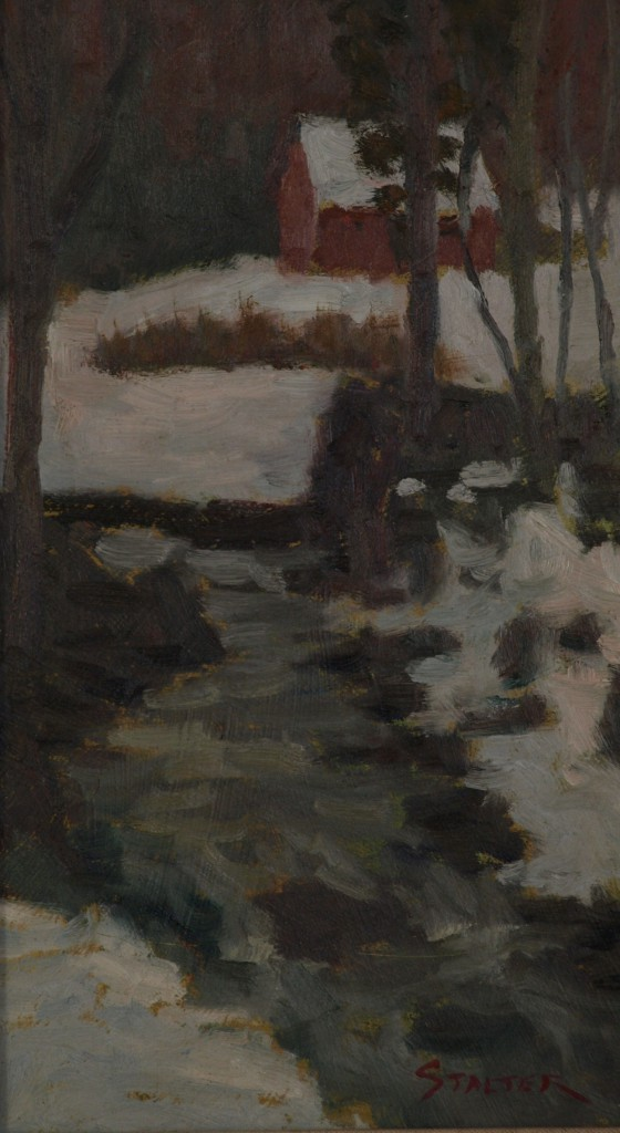 Snowlined Brook, Oil on Panel, 14 x 8 Inches, by Richard Stalter, $225