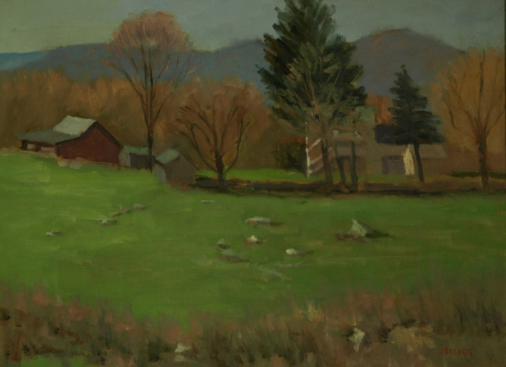 South Kent Farm in Spring, Oil on Canvas, 18 x 24 Inches, by Richard Stalter, $475