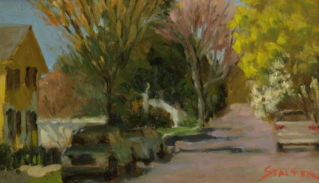South Main - Autumn, Oil on Panel, 9 x 12 Inches, by Richard Stalter, $225